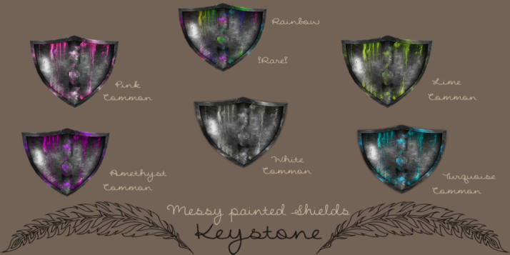 Keystone Messy painted Shields (Look better inworld!)